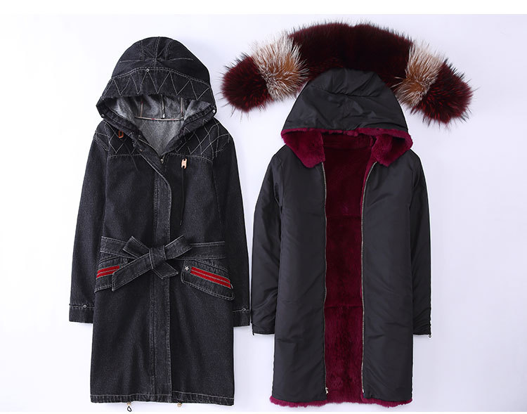 Raccoon Fur Trimming Hooded Parka with Detachable Rex Rabbit Fur Liner 941 Details 1