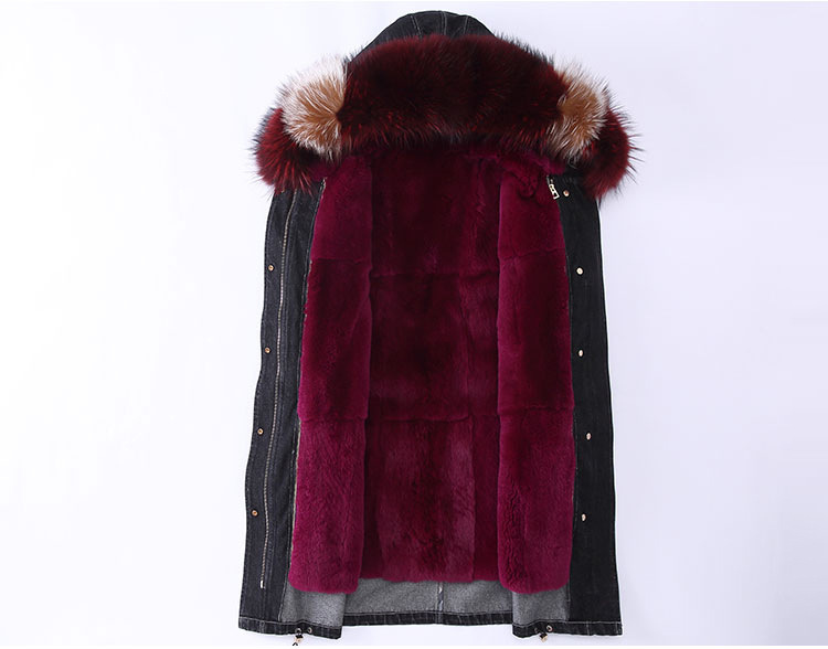 Raccoon Fur Trimming Hooded Parka with Detachable Rex Rabbit Fur Liner 941 Details 2