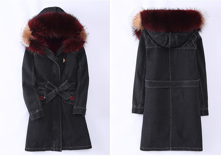 Raccoon Fur Trimming Hooded Parka with Detachable Rex Rabbit Fur Liner 941 Details 3