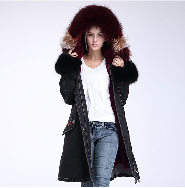 Raccoon Fur Trimming Hooded Parka with Detachable Rex Rabbit Fur Liner 941 Details 5