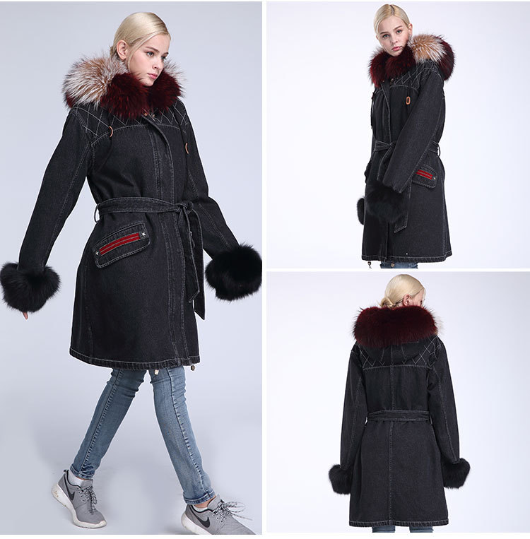 Raccoon Fur Trimming Hooded Parka with Detachable Rex Rabbit Fur Liner 941 Details 7