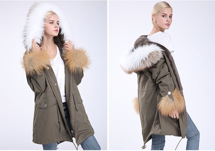 Fox Fur Trimming Hooded Parka with Detachable Rex Rabbit Fur Liner 942 Details 10