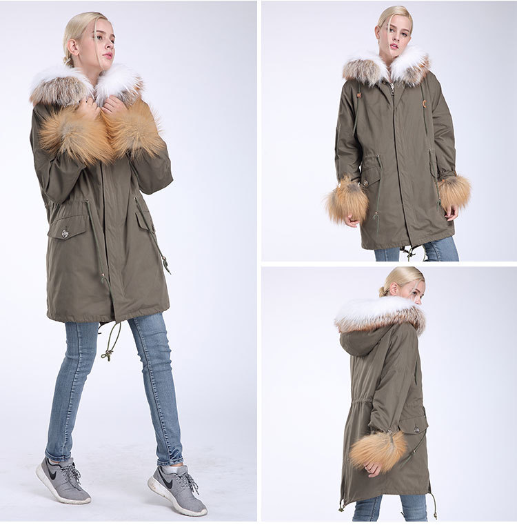 Fox Fur Trimming Hooded Parka with Detachable Rex Rabbit Fur Liner 942 Details 11