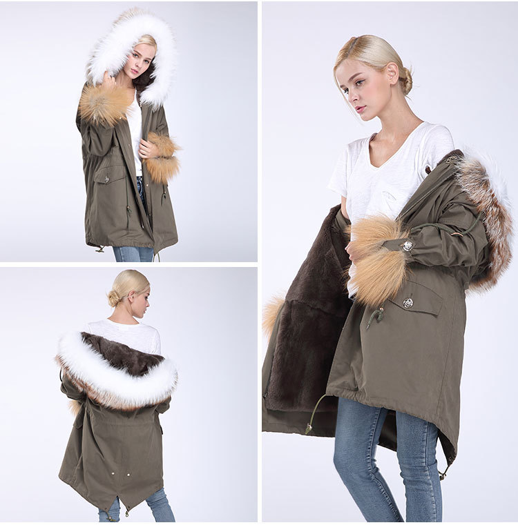 Fox Fur Trimming Hooded Parka with Detachable Rex Rabbit Fur Liner 942 Details 12