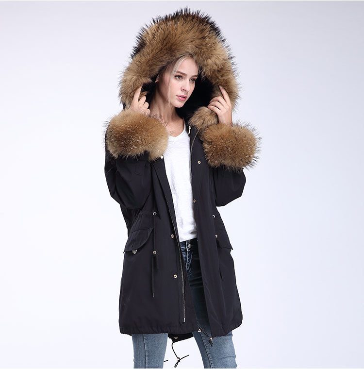 Fox Fur Trimming Hooded Parka with Detachable Rex Rabbit Fur Liner 942 Details 13