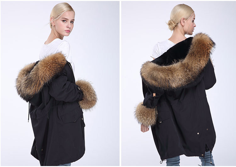 Fox Fur Trimming Hooded Parka with Detachable Rex Rabbit Fur Liner 942 Details 14