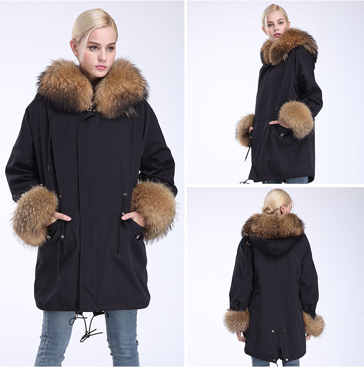 Fox Fur Trimming Hooded Parka with Detachable Rex Rabbit Fur Liner 942 Details 15