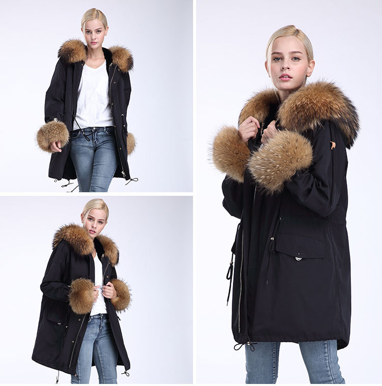 Fox Fur Trimming Hooded Parka with Detachable Rex Rabbit Fur Liner 942 Details 16