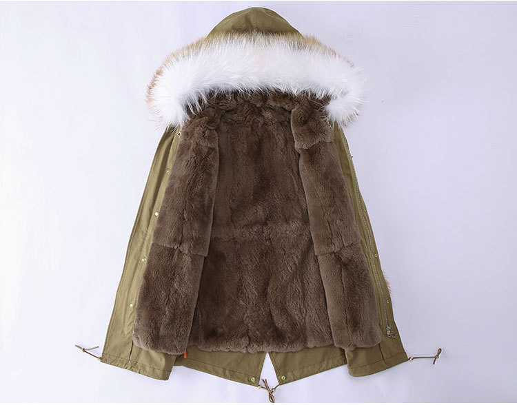 Fox Fur Trimming Hooded Parka with Detachable Rex Rabbit Fur Liner 942 Details 2