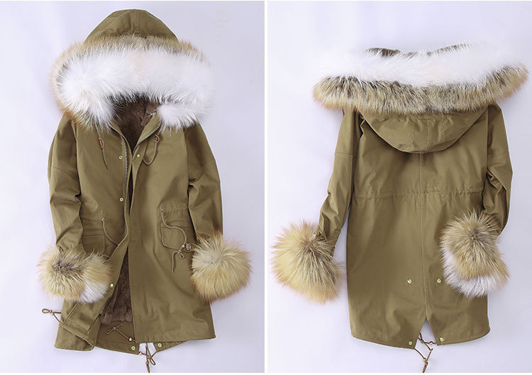 Fox Fur Trimming Hooded Parka with Detachable Rex Rabbit Fur Liner 942 Details 3