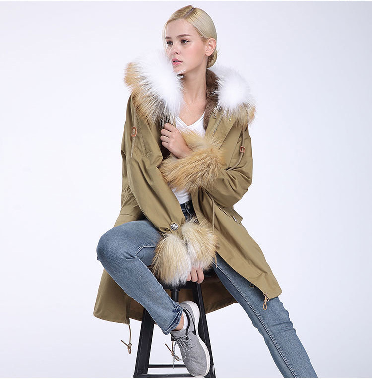 Fox Fur Trimming Hooded Parka with Detachable Rex Rabbit Fur Liner 942 Details 5