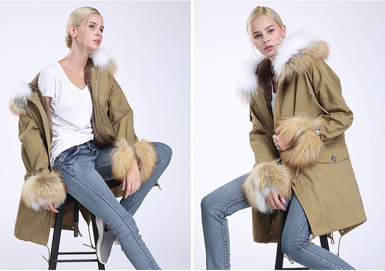 Fox Fur Trimming Hooded Parka with Detachable Rex Rabbit Fur Liner 942 Details 6