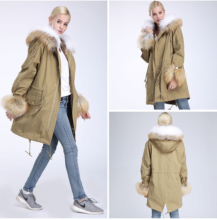 Fox Fur Trimming Hooded Parka with Detachable Rex Rabbit Fur Liner 942 Details 7