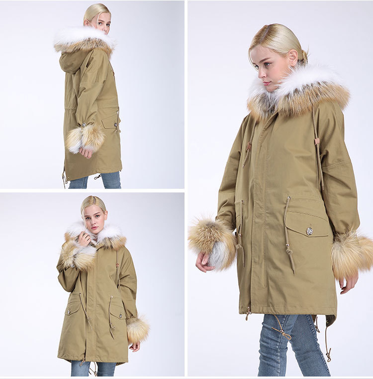 Fox Fur Trimming Hooded Parka with Detachable Rex Rabbit Fur Liner 942 Details 8