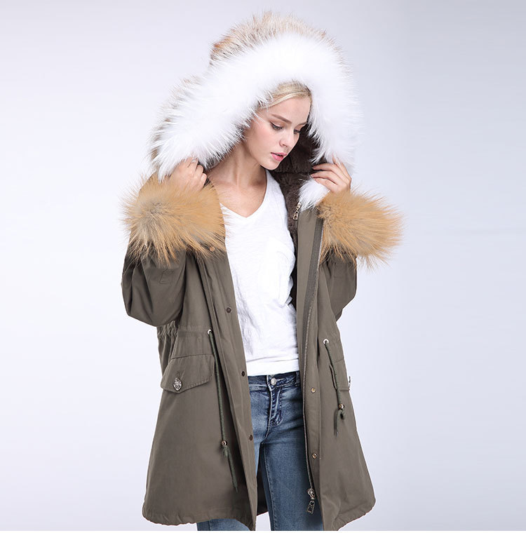 Fox Fur Trimming Hooded Parka with Detachable Rex Rabbit Fur Liner 942 Details 9