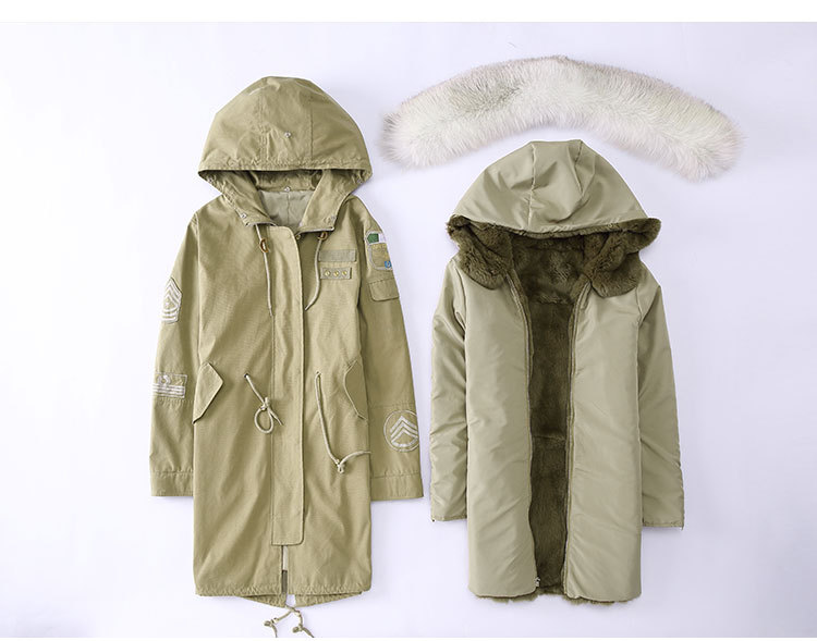 Fox Fur Trimming Hooded Parka with Detachable Rex Rabbit Fur Liner 943 Details 1