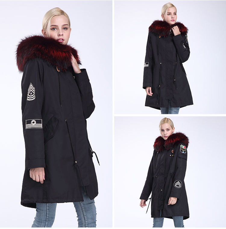 Fox Fur Trimming Hooded Parka with Detachable Rex Rabbit Fur Liner 943 Details 12