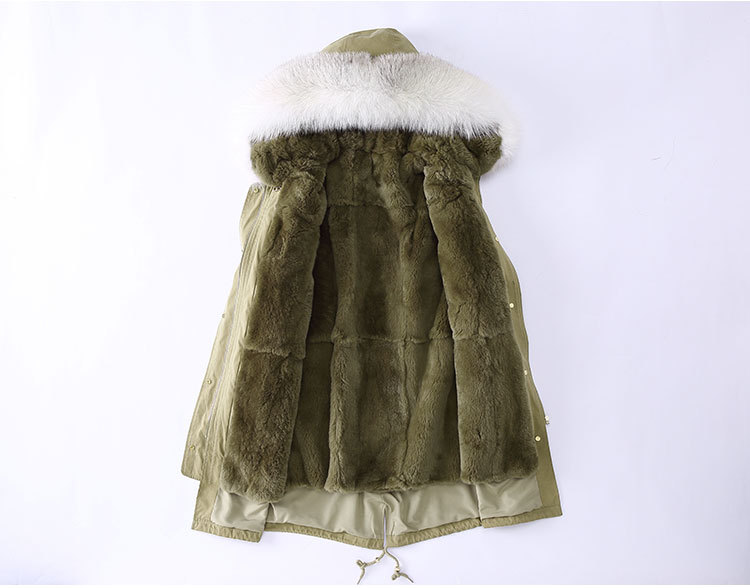 Fox Fur Trimming Hooded Parka with Detachable Rex Rabbit Fur Liner 943 Details 2