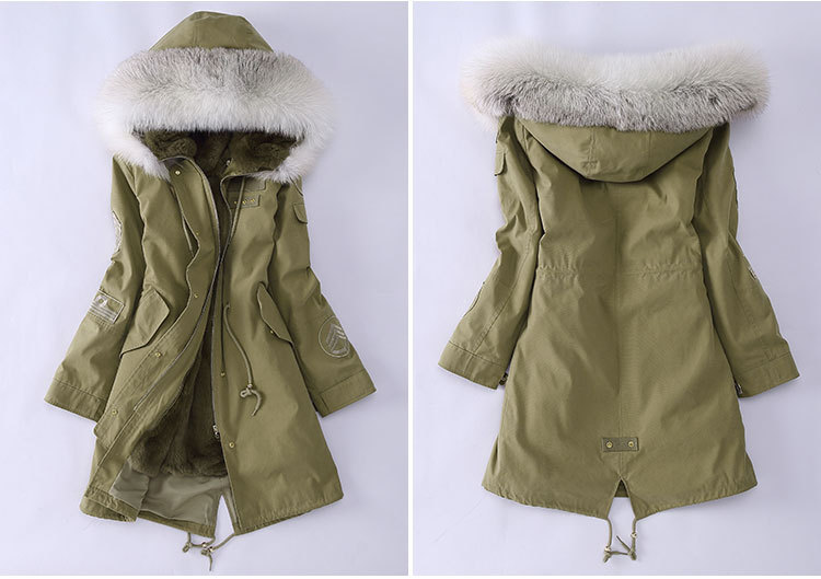 Fox Fur Trimming Hooded Parka with Detachable Rex Rabbit Fur Liner 943 Details 3
