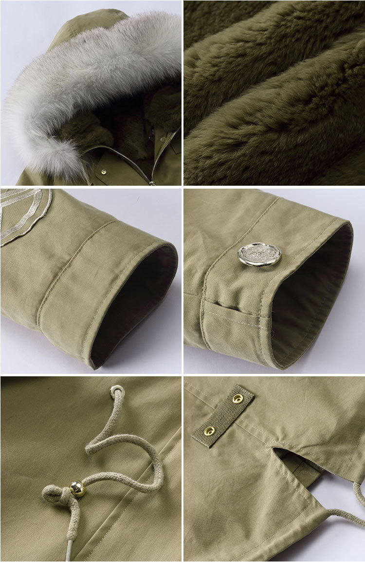 Fox Fur Trimming Hooded Parka with Detachable Rex Rabbit Fur Liner 943 Details 4