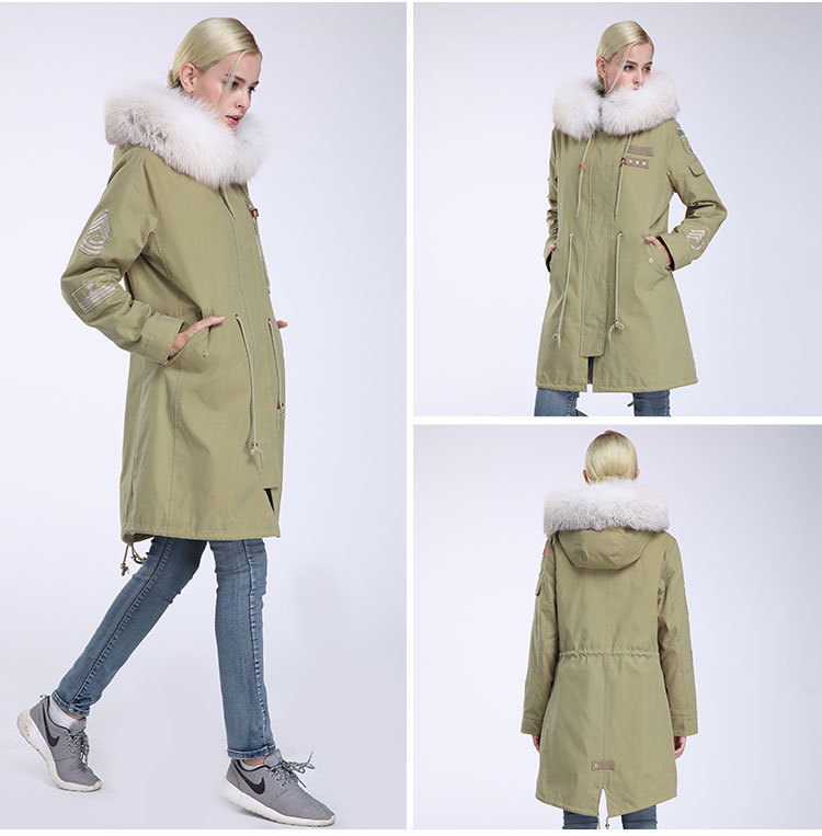 Fox Fur Trimming Hooded Parka with Detachable Rex Rabbit Fur Liner 943 Details 7