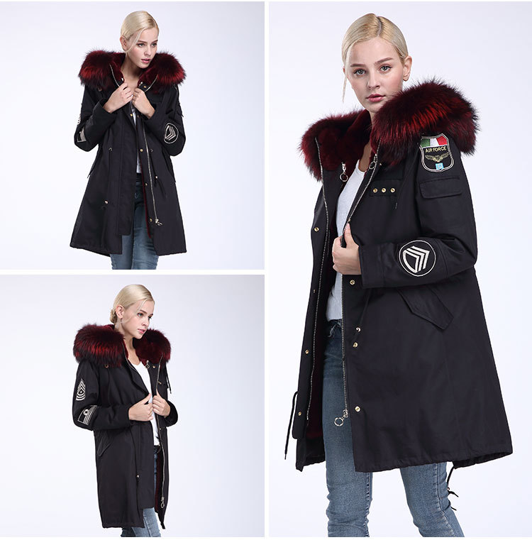Fox Fur Trimming Hooded Parka with Detachable Rex Rabbit Fur Liner 943 Details 9