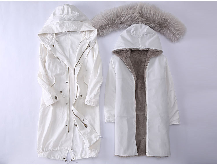 Raccoon Fur Trimming Hooded Parka with Detachable Rex Rabbit Fur Liner 944 Details 1