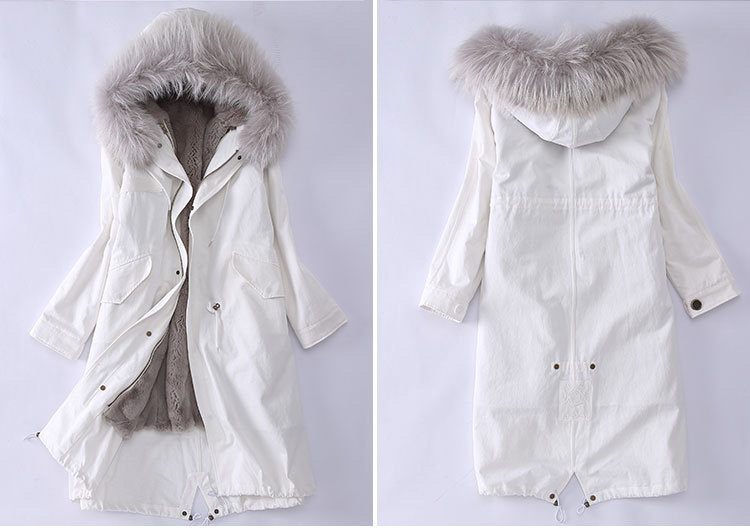Raccoon Fur Trimming Hooded Parka with Detachable Rex Rabbit Fur Liner 944 Details 3