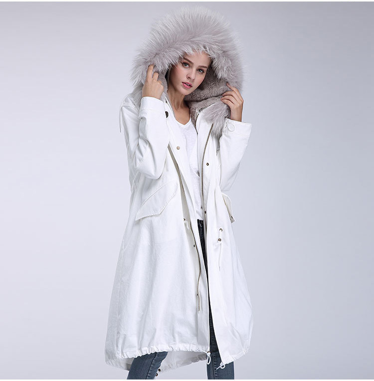 Raccoon Fur Trimming Hooded Parka with Detachable Rex Rabbit Fur Liner 944 Details 5