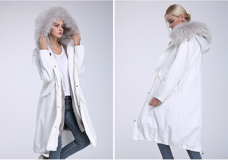 Raccoon Fur Trimming Hooded Parka with Detachable Rex Rabbit Fur Liner 944 Details 6