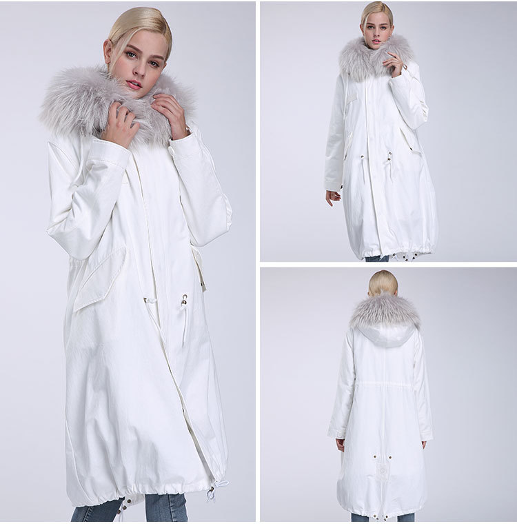 Raccoon Fur Trimming Hooded Parka with Detachable Rex Rabbit Fur Liner 944 Details 7