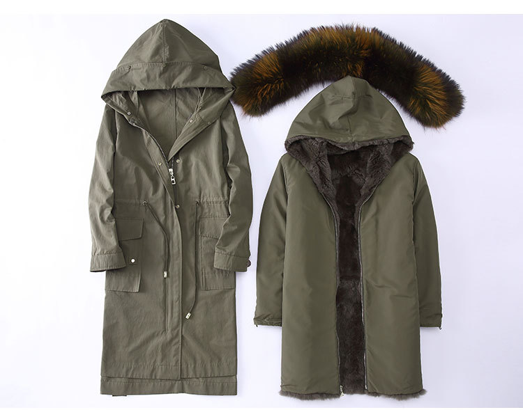 Raccoon Fur Trimming Hooded Parka with Detachable Rex Rabbit Fur Liner 945 Details 1