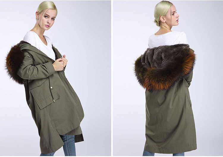 Raccoon Fur Trimming Hooded Parka with Detachable Rex Rabbit Fur Liner 945 Details 10