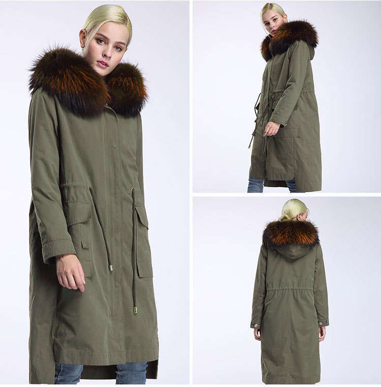 Raccoon Fur Trimming Hooded Parka with Detachable Rex Rabbit Fur Liner 945 Details 11