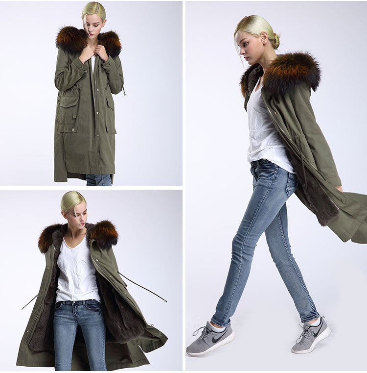 Raccoon Fur Trimming Hooded Parka with Detachable Rex Rabbit Fur Liner 945 Details 12