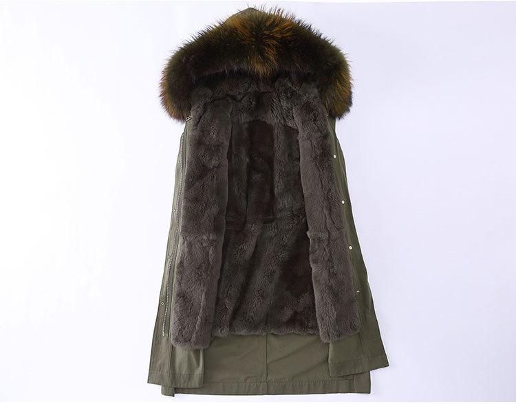 Raccoon Fur Trimming Hooded Parka with Detachable Rex Rabbit Fur Liner 945 Details 2