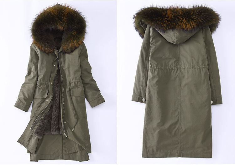 Raccoon Fur Trimming Hooded Parka with Detachable Rex Rabbit Fur Liner 945 Details 3