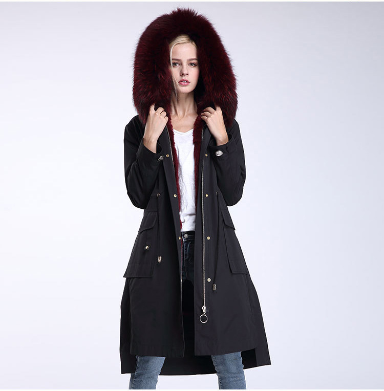 Raccoon Fur Trimming Hooded Parka with Detachable Rex Rabbit Fur Liner 945 Details 5