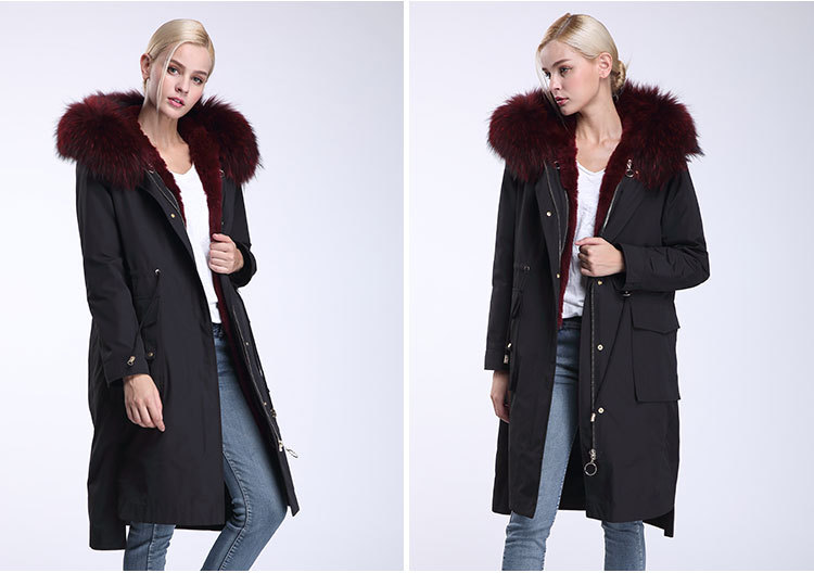 Raccoon Fur Trimming Hooded Parka with Detachable Rex Rabbit Fur Liner 945 Details 6