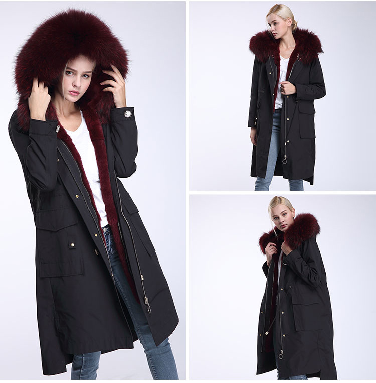 Raccoon Fur Trimming Hooded Parka with Detachable Rex Rabbit Fur Liner 945 Details 7
