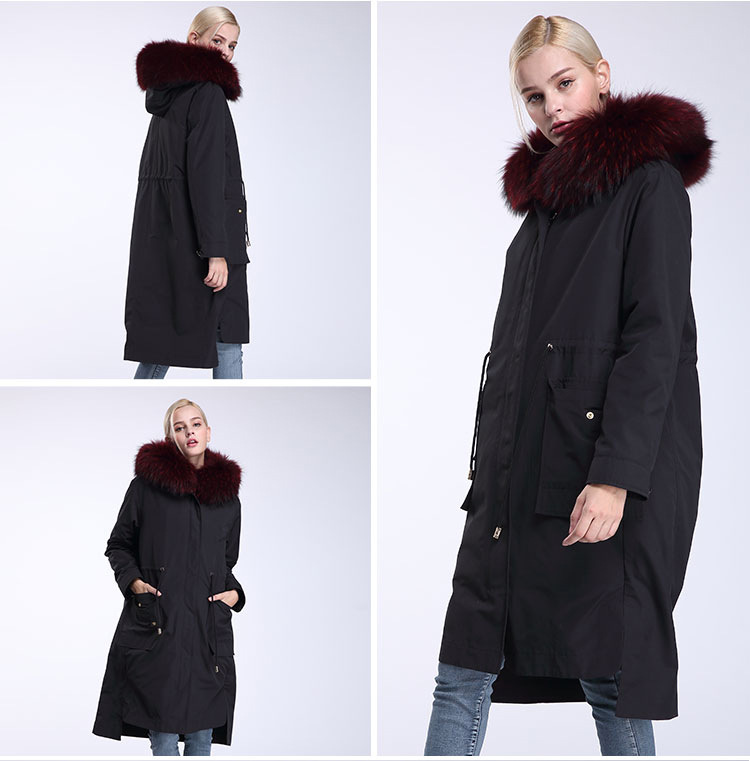 Raccoon Fur Trimming Hooded Parka with Detachable Rex Rabbit Fur Liner 945 Details 8