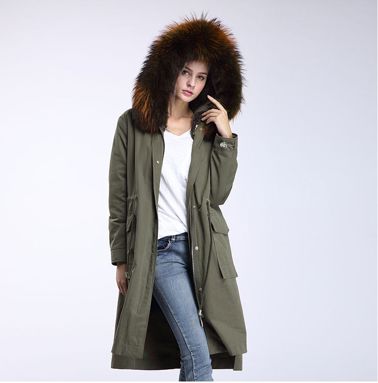 Raccoon Fur Trimming Hooded Parka with Detachable Rex Rabbit Fur Liner 945 Details 9