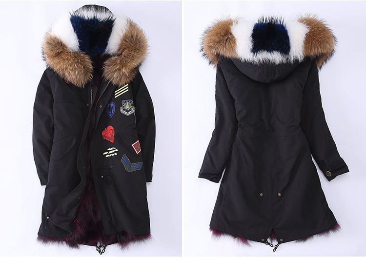 Raccoon Fur Trimmed Hooded Parka with Detachable Fox Fur Liner 946 Details 3