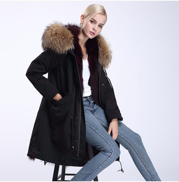 Raccoon Fur Trimmed Hooded Parka with Detachable Fox Fur Liner 946 Details 6
