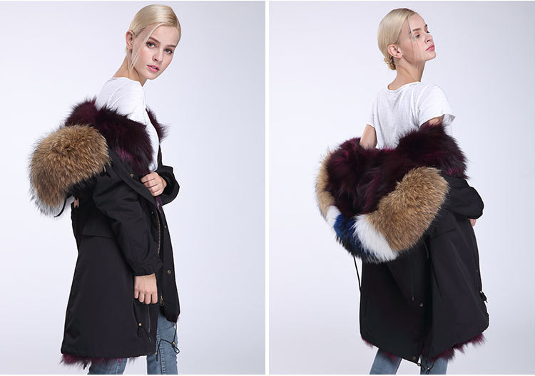 Raccoon Fur Trimmed Hooded Parka with Detachable Fox Fur Liner 946 Details 7