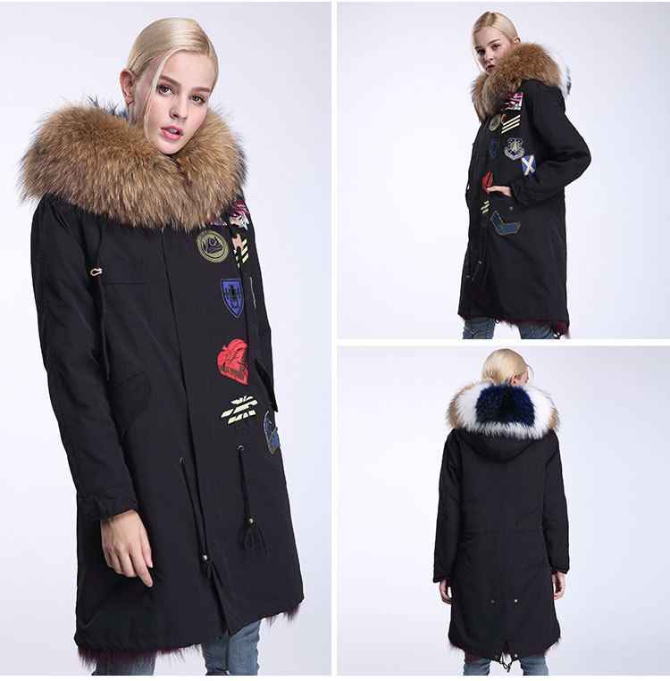 Raccoon Fur Trimmed Hooded Parka with Detachable Fox Fur Liner 946 Details 8