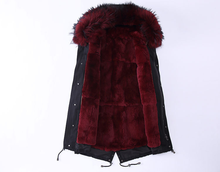 Raccoon Fur Trimming Hooded Parka with Detachable Rex Rabbit Fur Liner 947 Details 1