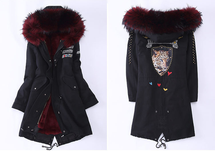 Raccoon Fur Trimming Hooded Parka with Detachable Rex Rabbit Fur Liner 947 Details 2