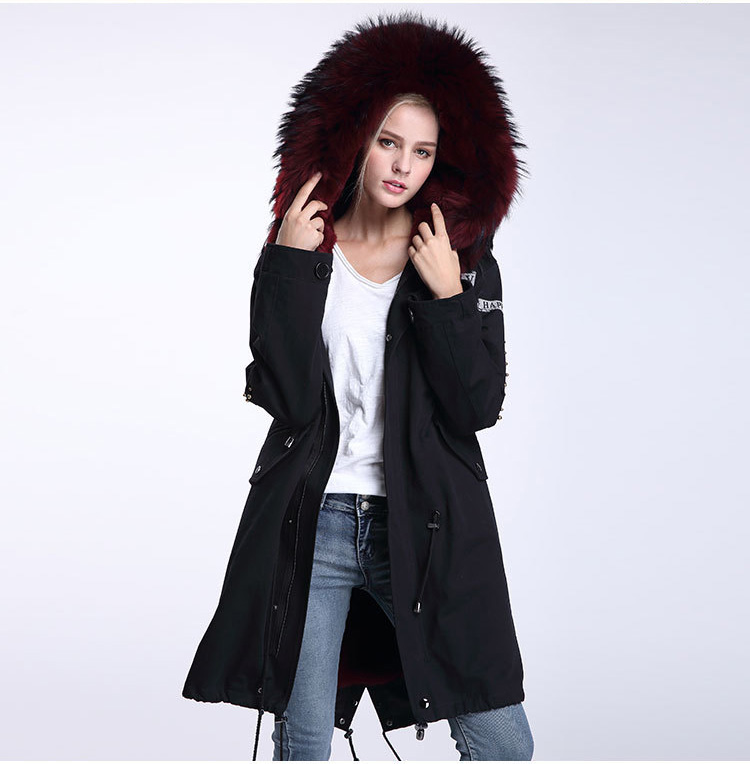 Raccoon Fur Trimming Hooded Parka with Detachable Rex Rabbit Fur Liner 947 Details 5