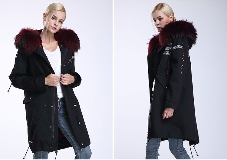 Raccoon Fur Trimming Hooded Parka with Detachable Rex Rabbit Fur Liner 947 Details 6